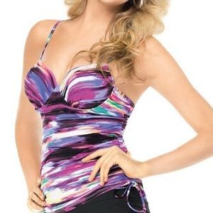 Assets Push-Up Tankini Ruched Sides Size Small